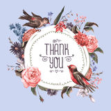 Vintage Greeting Card with Flowers and Birds. Stock Images
