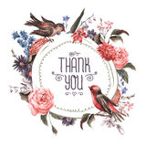 Vintage Greeting Card with Flowers and Birds. Stock Photography