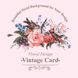Vintage Greeting Card with Flowers and Birds. Royalty Free Stock Photos
