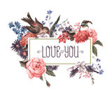 Vintage Greeting Card with Flowers and Birds. Stock Photo