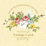 Vintage greeting card with flowers Royalty Free Stock Image