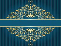 Vintage greeting card with  golden floral pattern. On blue striped background Royalty Free Stock Image