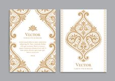 Vintage greeting card with golden flowers. Great white card for invitation, flyer, menu, brochure, postcard, background, wallpaper, decoration, or any desired Stock Image
