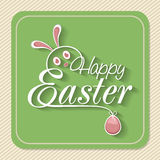 Vintage greeting card for Happy Easter celebration. Vintage greeting card for Happy Easter celebration with creative bunny face and pink egg Stock Images