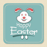 Vintage greeting card for Happy Easter celebration. Vintage greeting card with cute bunny and eggs for Happy Easter celebration Royalty Free Stock Photography