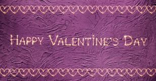 Vintage greeting card Happy Valentine`s Day. Vintage greeting card Happy Valentines Day. Sparkling golden words Happy Valentine`s Day and the pattern of hearts Stock Photography