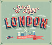 Vintage greeting card from London - England. Royalty Free Stock Images
