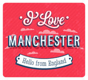 Vintage greeting card from Manchester - England. Stock Photos