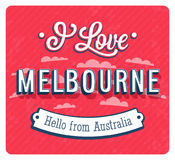 Vintage greeting card from Melbourne - Australia. Stock Photos