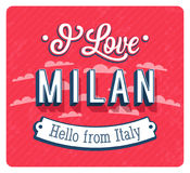 Vintage greeting card from Milan - Italy. Royalty Free Stock Photography