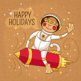 Vintage greeting card with a monkey astronaut. On a rocket vector illustration Royalty Free Stock Images