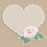 Vintage greeting card. Napkin in the form of heart and a rose. Stock Images
