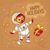 Vintage greeting card with owl astronaut Stock Photography