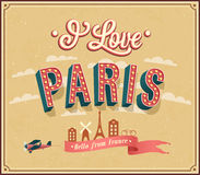 Vintage greeting card from Paris - France. Royalty Free Stock Photography