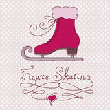 Vintage greeting card with pink skate. Dotted background  and glamour pink Sports footwear. Retro style. Colorful vector illustration Stock Images