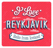 Vintage greeting card from Reykjavik - Iceland. Stock Photography
