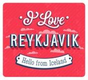 Vintage greeting card from Reykjavik - Iceland. Vector illustration Stock Photography