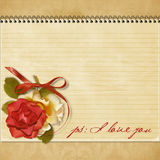 Vintage greeting card with a rose Stock Image