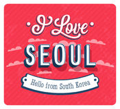 Vintage greeting card from Seoul - South Korea. Stock Photography