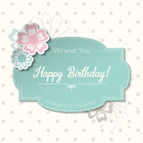 Vintage greeting card in shabby chic style with text Happy Birthday, illustration,. Vintage greeting card in shabby chic style with text Happy Birthday, blue Royalty Free Stock Images