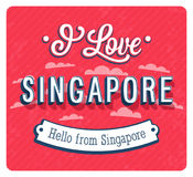 Vintage greeting card from Singapore - Singapore. Royalty Free Stock Photography