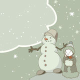 Vintage greeting card with a snowman and frame for text. Royalty Free Stock Images