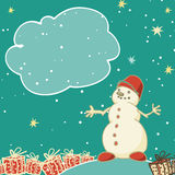 Vintage greeting card with a snowman, gifts and frame for text. Vector illustration royalty free illustration