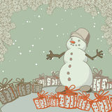 Vintage greeting card with a snowman and gifts. Vector illustration royalty free illustration