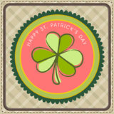 Vintage greeting card for St. Patricks Day. St. Patricks Day celebration vintage greeting card with green Shamrock leaf Royalty Free Stock Images