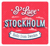 Vintage greeting card from Stockholm - Sweden. Stock Photos