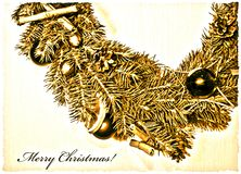Christmas card in a retro style royalty free stock image