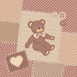 Vintage greeting card with teddy bear royalty free illustration