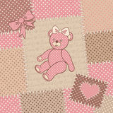 Vintage greeting card with teddy bear stock illustration