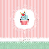 Vintage greeting card template with cupcake. Stock Photo