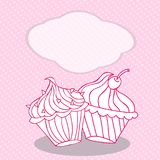 Vintage greeting card template with cupcake. For birthday, scrapbook. Royalty Free Stock Photo