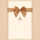 Vintage greeting card template with golden bow. And ribbon. Invitation. Vector illustration Royalty Free Stock Photos
