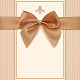 Vintage greeting card template with golden bow and. A ribbon. Invitation. Vector illustration Royalty Free Stock Images