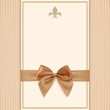 Vintage greeting card template with golden bow and Stock Image