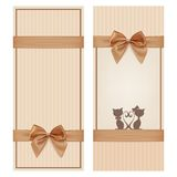 Vintage greeting card template with golden bow and Stock Images