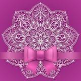 Vintage greeting card template. Purple vintage greeting card template with bow ribbon and lace mandala. Vector wedding invitation design. Anniversary template Stock Image