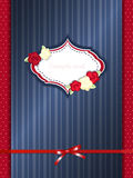 Vintage greeting card template with red bow Stock Photos