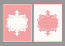 Vintage greeting card  template. Retro wedding invitations with grunge texture. Pink and white background Royalty Free Stock Image