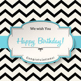 Vintage greeting card with text Happy Birthday, illustration, Royalty Free Stock Photography