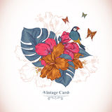 Vintage Greeting Card Tropical Flowers, Butterfly. And Birds, Vector Illustration Royalty Free Stock Photography