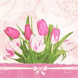Vintage greeting card with tulips. Adorable bouquet flowers. Retro background with lace doily. Vector illustration Royalty Free Stock Image