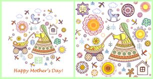 Vintage greeting card and wallpaper for Mothers day Stock Images