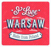 Vintage greeting card from Warsaw - Poland. Stock Image