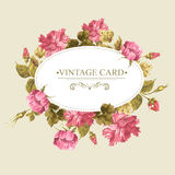 Vintage Greeting Card, Watercolor Illustration. Royalty Free Stock Photography