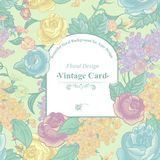 Vintage Greeting Card with Wildflowers Stock Photos