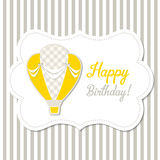 Vintage greeting card with yellow hot air balloon, illustration Stock Photography